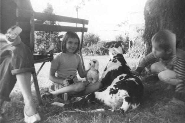 Great Dane & me as a kid